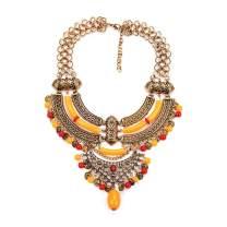 Thkmeet Womens Alloy Bohemian Ethnic Gypsy Tribal Beaded Choker Necklace Chunky Statement Necklace