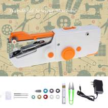 Portable Mini Sewing Machine, Cordless Handheld Sewing Machine Electric Sewing Machine - Home Handy Stitch for Clothes Quick Repairing (Orange, with USB Cable & Sewing Set)