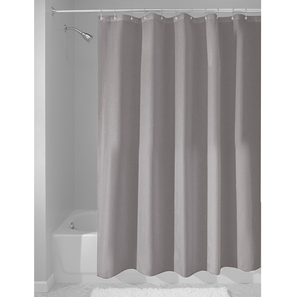 """iDesign Fabric Shower Curtain, Water-Repellent and Mold- and Mildew-Resistant Liner for Master, Guest, Kids', College Dorm Bathroom, 72"""" x 72"""", Gray"""