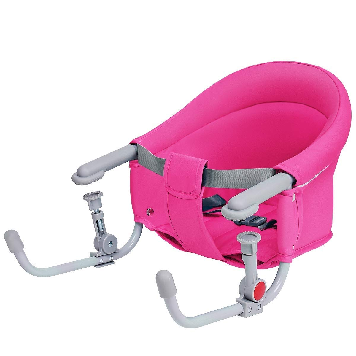 Costzon Hook On Chair, Clip on High Chair w/Tight Fixing Clip, Iron Pipe Frame, Machine-Washable Fabric, Storage Pocket, Portable Feeding Seat for Home Restaurant Travel, Baby Fast Table Chair (Pink)