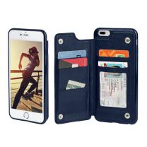 Gear Beast Lychee PU Leather Protective Top View Slim Wallet Case Fits iPhone 7 Plus/ 8 Plus Includes Flip Folio Cover, with Five Card Slots Including Transparent ID Holder