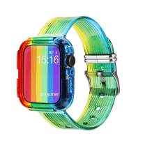 42mm 44mm with Bumper Case TPU Sport Strap Wristband, Crystal Clear Men Rugged Sport Military Protective Case with Bands for Apple Watch SE and iWatch Series 6 5 4 3 2 1 Sport Band (Rainbow, 42/44 MM)