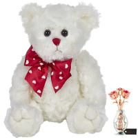 Matashi Rose Gold and Chrome Plated Flowers Bouquet and Vase w/Red & Clear Crystals | Table Top Decorations - Bearington Lil' Lovable Plush Stuffed Animal Teddy Bear, White 11""