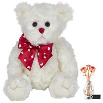 """Matashi Rose Gold and Chrome Plated Flowers Bouquet and Vase w/Red & Clear Crystals   Table Top Decorations - Bearington Lil' Lovable Plush Stuffed Animal Teddy Bear, White 11"""""""