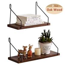 HOMWOO Shelves for Wall Floating Shelves Set of 2 Pecan Solid Wood Shelves Floating Shelves Bathroom Rustic Wall Mounted Wall Shelf for Living Room, Bedroom, Bathroom, Kitchen, Office (Walnut)