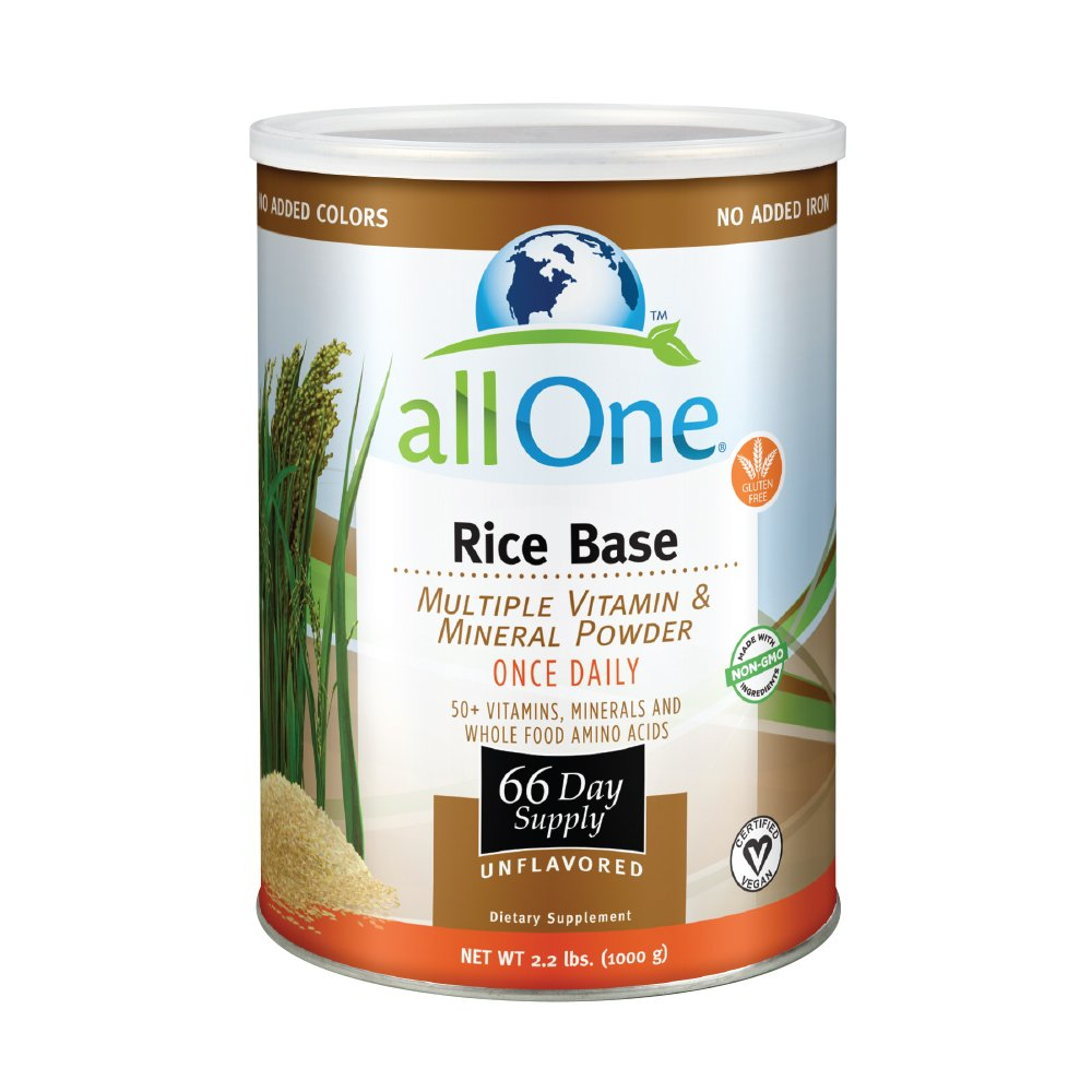 allOne Rice Base Multiple Vitamin & Mineral Powder   Once Daily Multivitamin, Mineral & Whole Food Amino Acid Supplement w/6g Protein   66 Servings