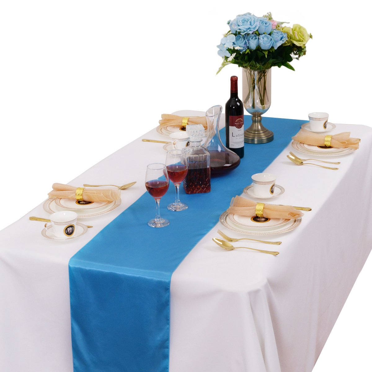 Navy Blue MDS Pack of 10 Wedding 12 x 108 inch Satin Table Runner for Wedding Banquet Decoration