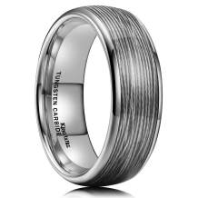 King Will Mens 8mm Tungsten Carbide Wedding Ring Red/Sliver/Olive Green Steel Wire Inlay Domed Style High Polished