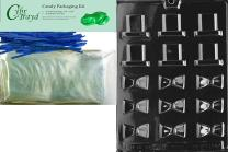 "Cybrtrayd""Bite Size Black Tie and Hat"" Dads Chocolate Candy Mold with Packaging Bundle, Includes 25 Cello Bags and 25 Blue Twist Ties"