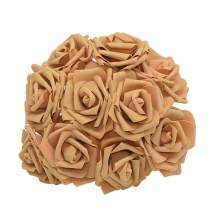YONGSNOW Artificial Rose Flower 30Pcs PE Foam Roses Bulk with Stem Real Touch 3D Rose for DIY Wedding Bouquets Centerpieces Bridal Shower Party Home Decoration (Khaki)