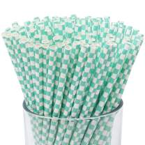 Just Artifacts 100pcs Premium Biodegradable Checkered Paper Straws (Checkered, Turquoise)