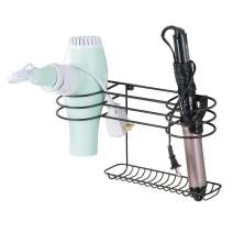 mDesign Bathroom Wall Mount Metal Hair Care & Styling Tool Organizer Storage Basket for Hair Dryer, Flat Iron, Curling Wand, Hair Straighteners, Brushes - Steel Wire - Bronze
