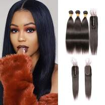 Straight Virgin Human Brazilian Hair 3 Bundles and Lace Closure 2x6 Grade 10a Middle Part Top Closure with Baby Hair Can Be Bleached 14 16 18 + 12 Inches