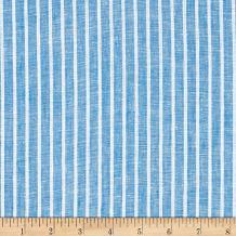 TELIO 0572624 Romsey Linen Stripe Aqua Fabric by The Yard