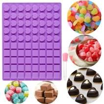 JeVenis 40 Cavity Heart shape Ice Cube Tray Mold Chocolate Mold Mini Candy Molds Jello Mold Gummy Mold with Silicone Dropper Clip