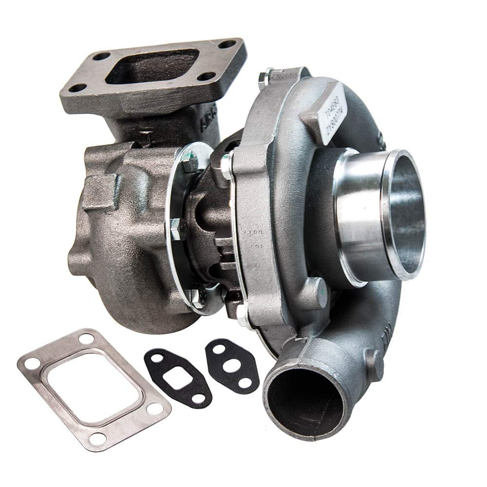 maXpeedingrods T3 T4 T3/T4 T04E Turbo Charger .57 A/R 400+HP, 5-Bolt Flange Universal Turbocharger Oil Cooled for 1.6L-2.5L engines 7psi-21psi