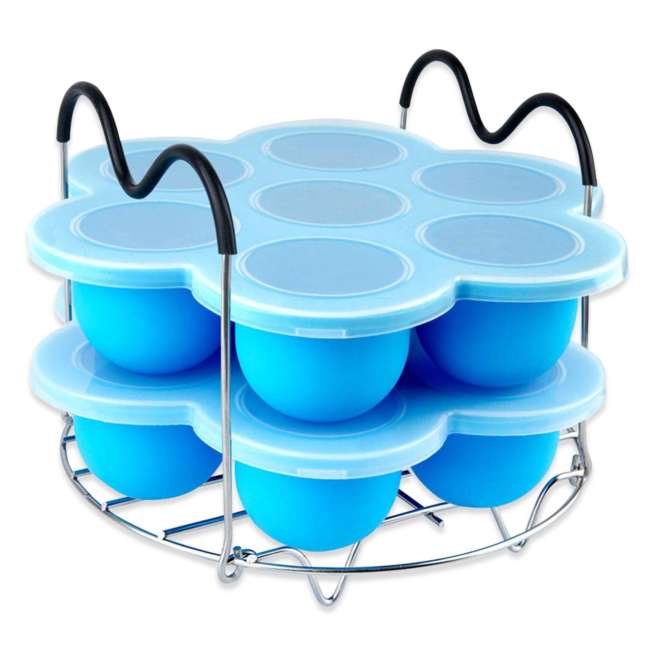 Bamyko Silicone Egg Bites Molds and Egg Steamer Rack for Instant Pot Accessories - Fit Instant Pot 5,6,8 qt Pressure Cooker Reusable Storage Container Freezer Trays for Baby Food