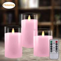 Battery Operated Candles with Timer Remote, LED Flameless Candle Gift Set, Pillar Real Wax Moving Flickering Light with Glass Effect for Home Party Wedding Valentines Decor, Set of 3 (Pink)