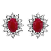 Dazzlingrock Collection Kate Middleton Diana Inspired 10K Real Round Diamond & Oval Red Ruby Earrings, White Gold