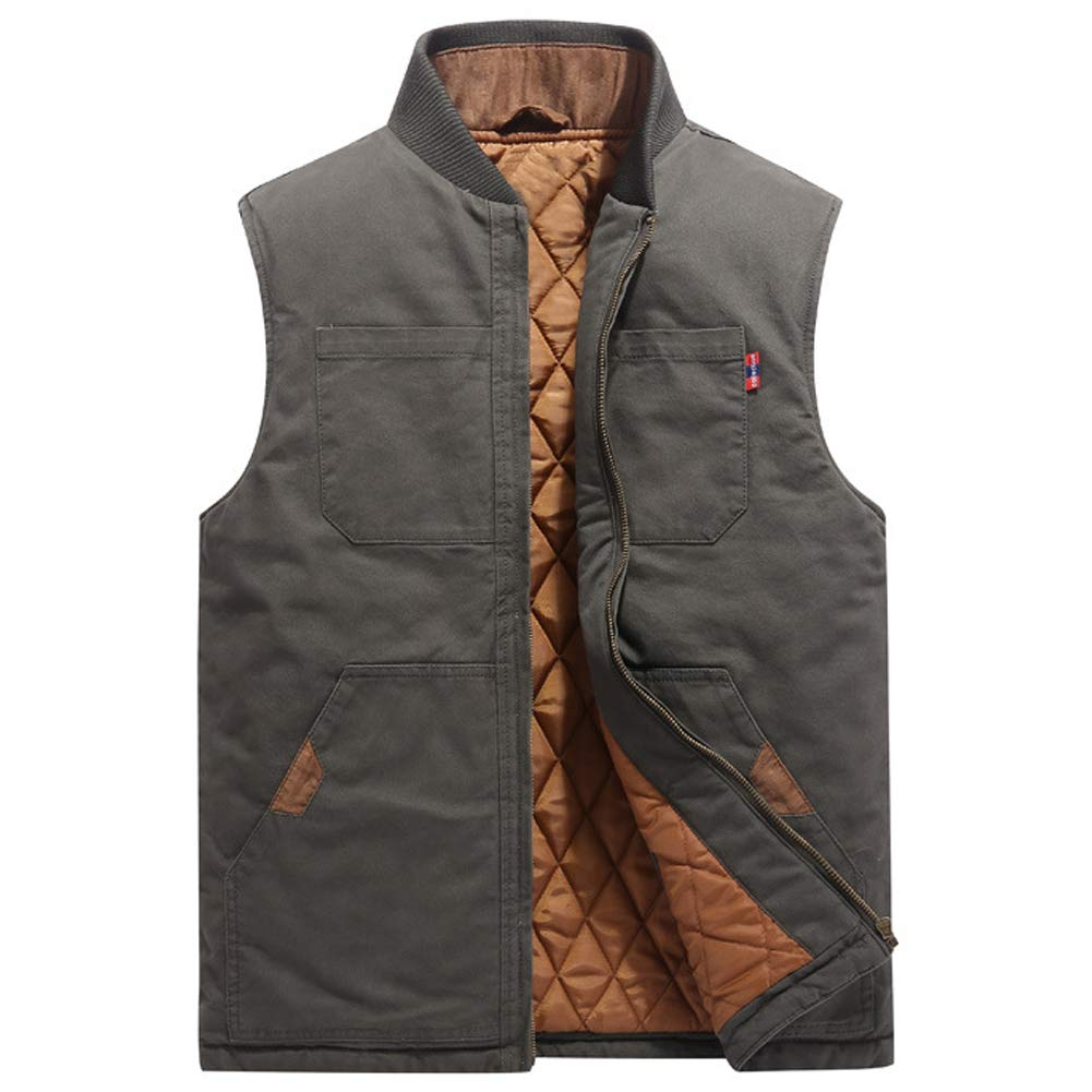 ZENTHACE Men's Quilted Lined Washed Vest Winter Outwear Sleeveless Jacket