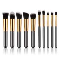 Makeup Brush Set Mini, 10pcs Golden Black Foundation Powder Eyebrow Eyeliner Blush Concealer Brushes Kit