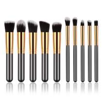 Makeup Brush Set Mini, 10pcs Golden Black Foundation Powder Eyebrow Eyeliner Blush Concealer Brushes Kit