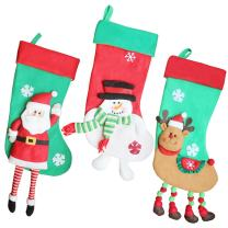 """Hvfun Lovely Christmas Stockings,Santa,Snowman, Reindeer, for Family Holiday Xmas Party Decorations,3 Pack,18"""""""