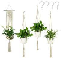 JES&MEDIS 4-Pack Macrame Plant Hangers with 4 Hooks, Different Tiers, Handmade Cotton Rope Hanging Planters Set Flower Pots Holder Stand, for Indoor Outdoor Boho Home Decor