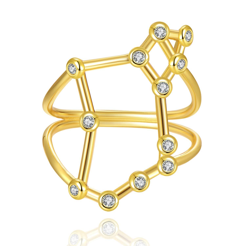 Rhodium Plated Sterling Silver Bezel Set Constellation Zodiac Rings