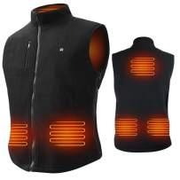 ARRIS Heated Vest Size Adjustable 7.4V Battery Electric Fleece Warm Vest 6 Heating Panels for Hiking Camping