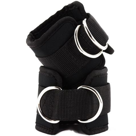 gelvs Black Exercise Ankle Straps for Gym Cable Machine Neoprene 2 D Rings Ankle Leg Cuff Tone Glute Abs Thigh Tight Workout