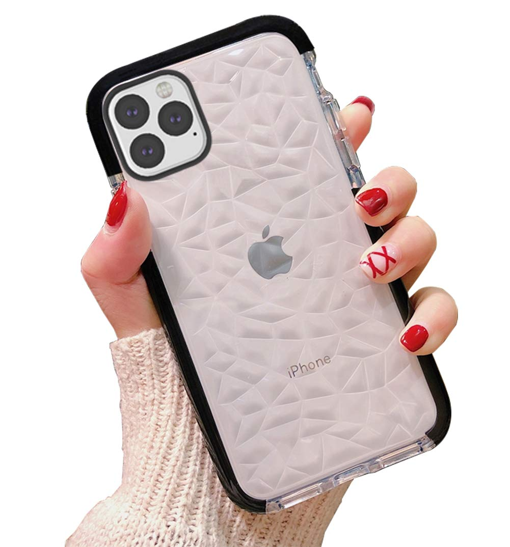 KUMTZO Compatible iPhone 11 Pro Max Case, Crystal Clear Slim Diamond Pattern Soft TPU Anti-Scratch Shockproof Protective Cover for Women Girls Men Boys with iPhone 11 Pro Max 6.5 inch - Black