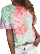 Kaei&Shi Tie Dye Shirt Women, Summer Tops,Tye Dye Printed Tshirts for Women,Colorful Casual T Shirt