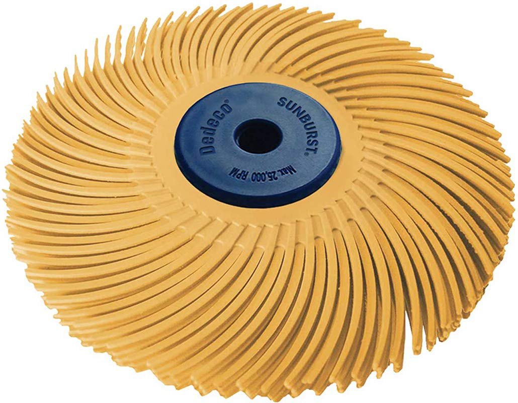 """Dedeco Sunburst - 3"""" TC 3-PLY Radial Bristle Discs - 1/4"""" Arbor - Industrial Thermoplastic Rotary Cleaning and Polishing Tool, Extra-Fine 6 Micron (1 Pack)"""