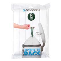Brabantia PerfectFit Bags, Dispenser, R, 36L, 30pcs, 36 Litre/Size R, White