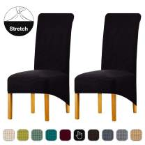 Lellen Large Jacquard Dining Chair Slipcovers Easy to Install Dining Room Chair Protector Parsons Chair Seat Covers Stretch Soft Comfortable Removable Washable Fabric Set of 2 (Black)