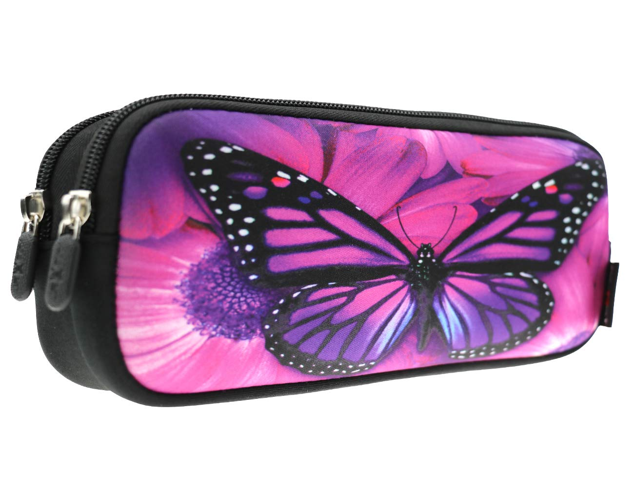 AUPET Pencil Case, Large Capacity Pencil Bag with Two Compartments Durable Zipper Students Stationery Pen Bag for Pens, Pencils, Markers, Eraser and Other School Supplies (Purple Big Butterfly)