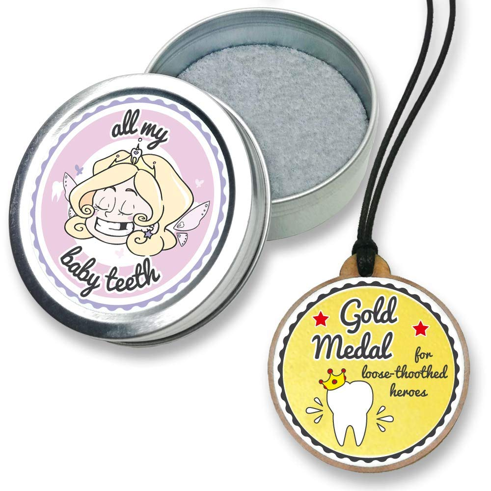 FANS & Friends Baby Tooth Keepsake Box with Gold Medal, Tooth Fairy Necklace Award, Tooth Fairy Gifts for Girls & Boys, Metal Tooth Box for Lost Teeth