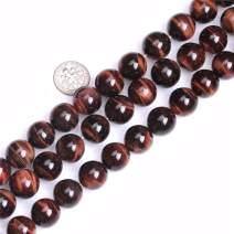 "JOE FOREMAN Red Tiger Eye Beads for Jewelry Making Natural Gemstone Semi Precious 14mm Round 15"""