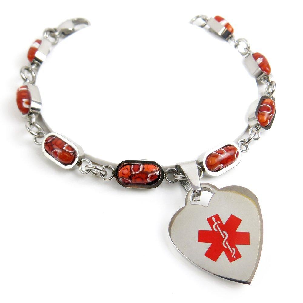 My Identity Doctor - Custom Engraved Medical Bracelet, 316L Stainless Steel, Red Millefiori Glass.7cm