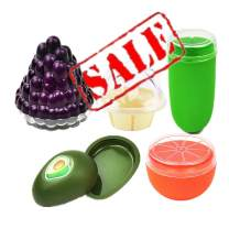 KeepingcooX Fruit Protectors - Avocado, Grape, Orange, Corn, Ice Cream - Food Keeper Saver Containers Set of 5, Reusable Hard Plastic Storage Container Shell with Transparent Tight Seal