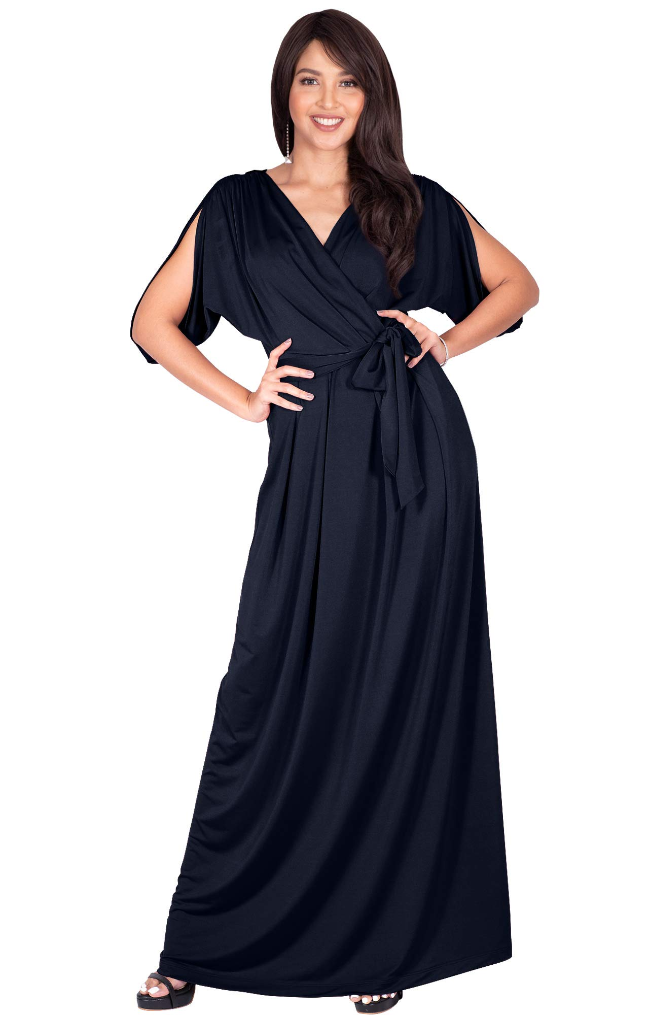 KOH KOH Plus Size Womens Long Semi-Formal Short Sleeve V-Neck Full Floor Length V-Neck Flowy Cocktail Wedding Guest Party Bridesmaid Maxi Dress Dresses Gown Gowns, Dark Navy Blue 3XL 22-24