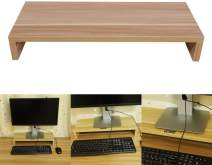 Monitor Shelf,Wooden Monitor Stand Monitor Riser Desktop for LED Computer Organizer TV Display (Wooden Color)