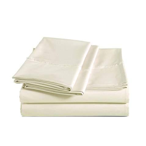 AmazonBasics Organic Percale Cotton Sheet Set with Frayed Hem - Queen, Linen