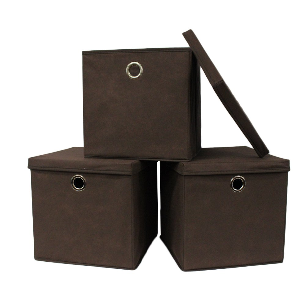 Pezin & Hulin Set of 3 Foldable Storage Bin with Lid, Cube Basket Box, Fabric Storage Organizer Box for Cloth, in Home,Cabinet, Shelves, Dormitory etc, Eco-Friendly Cloth with Metal Handle (Brown)