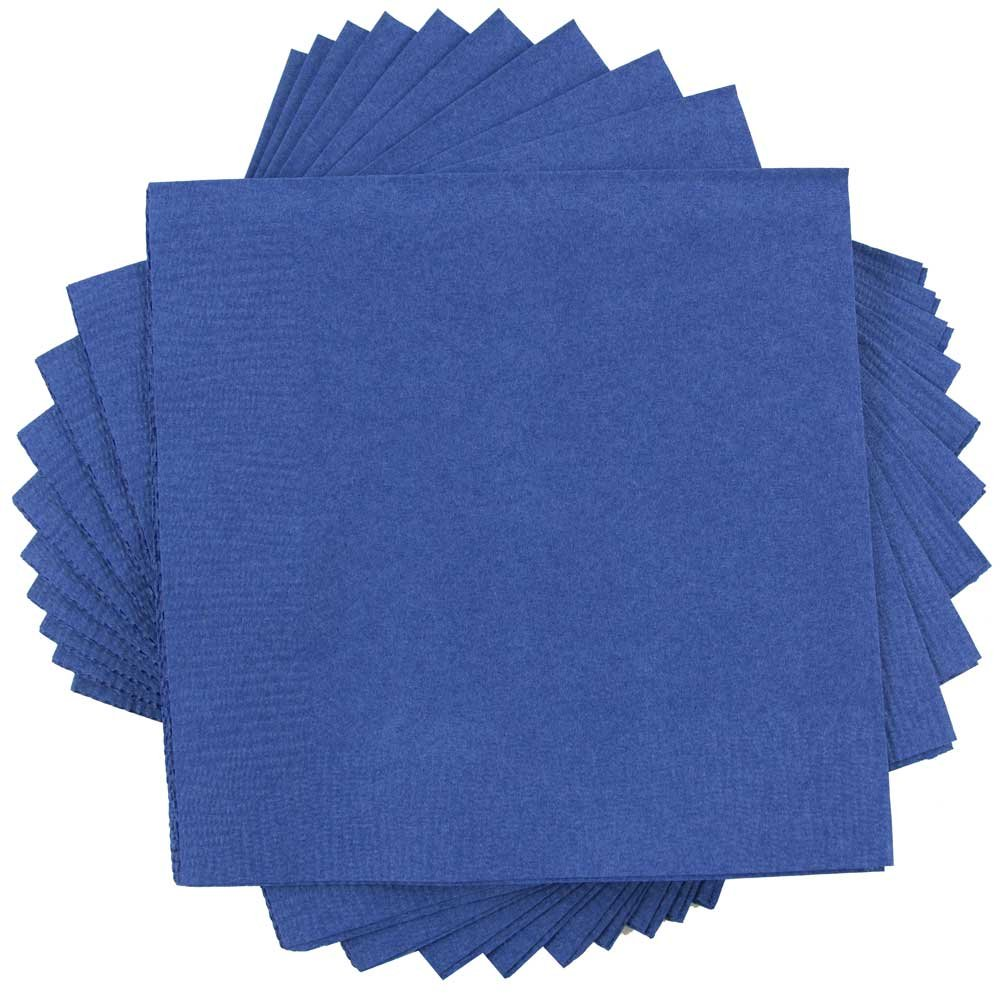 JAM PAPER Small Beverage Napkins - 5 x 5 - Blue - 600/Box