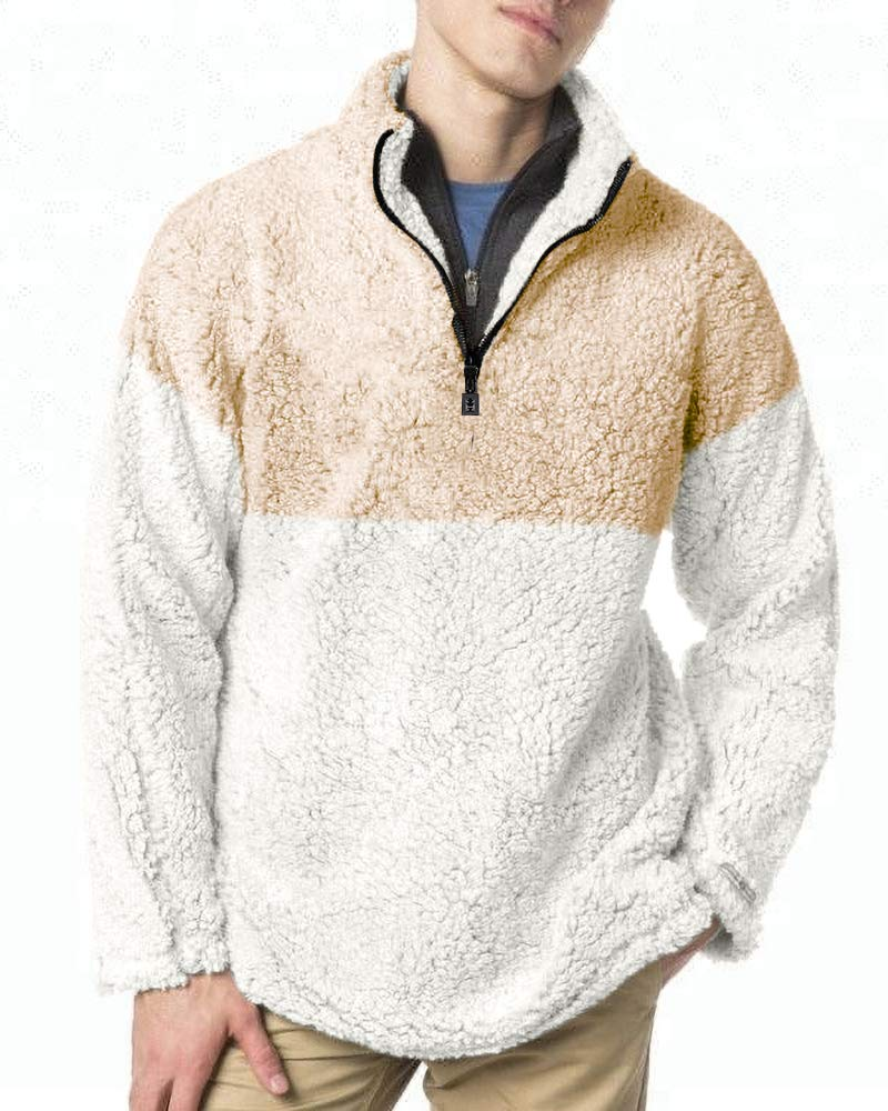 Gafeng Mens Sherpa Sweatshirt Winter Casual Fleece Fluffy Fuzzy Quarter Zipper Color Block Warm Outwear Coat