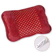 Lemical Electric Hot Water Bottle Rechargeable Explosion Proof Heating Pads Hand Foot Warmer - for Pain Relief Heat Therapy Cramps Arthritis, Red