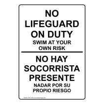 No Lifeguard On Duty Swim at Your Own Risk Bilingual Sign, 14x10 in. Aluminum for Recreation by ComplianceSigns