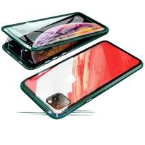 Compatible with iPhone 11 Pro Max (6.5 inch) Case, Jonwelsy 360 Degree Front and Back Transparent Tempered Glass Cover, Strong Magnetic Adsorption Technology Metal Bumper (Midnight Green)